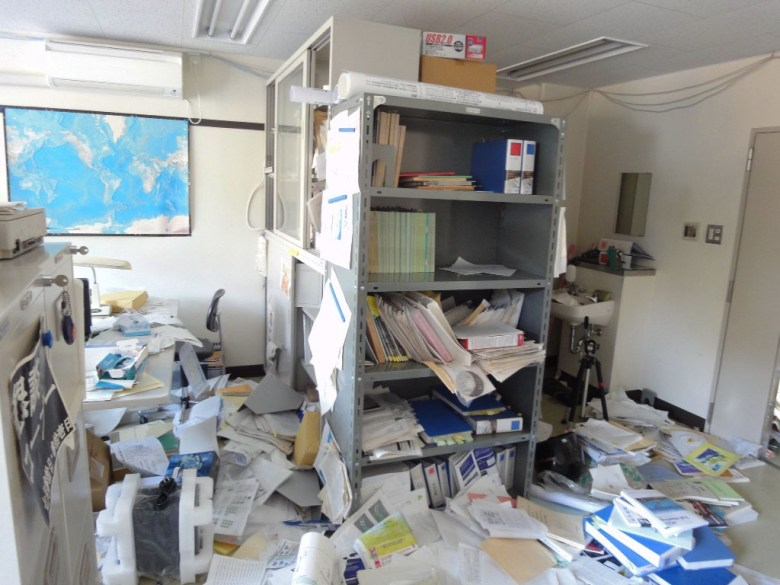 Photo of the first author's office after the earthquake.