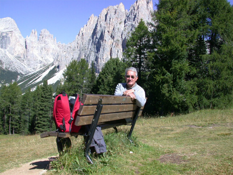 A photo of Renato Funiciello in the Dolomites Mountains of the Alps in 2005.