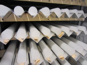 More than 20 ice cores sit on shelves