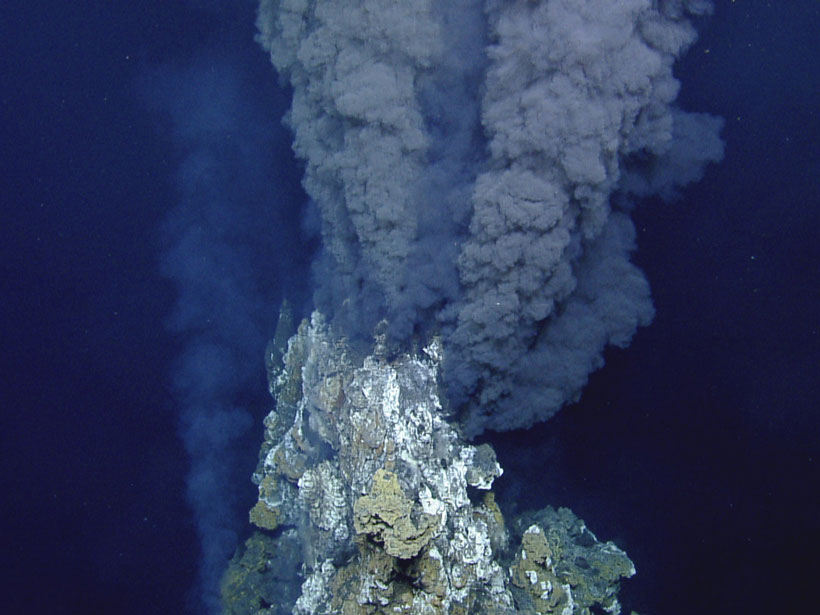 Microbes live in hydrothermal systems like this one on the East Pacific Rise.