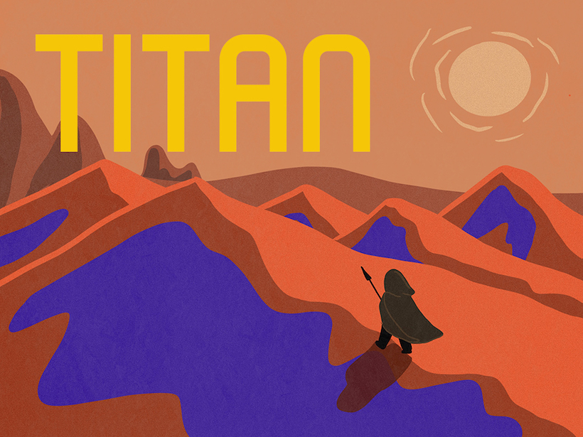 Una ilustración de un artista de Titán como su fuera una portada de libro.