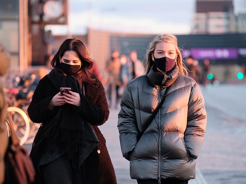 People in Copenhagen wearing face masks