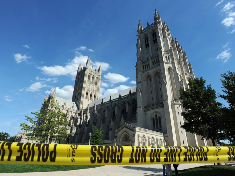Police tape in front of the National Cathedral.