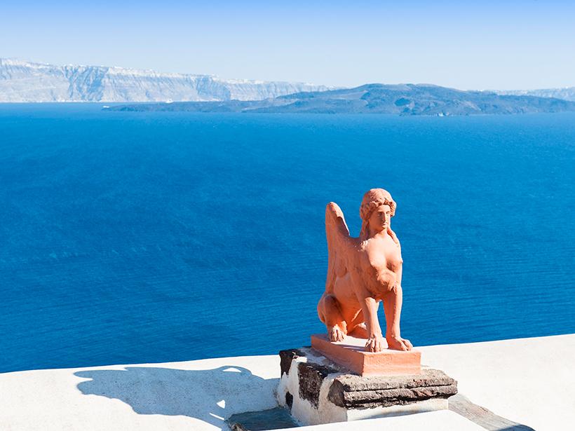 A photograph of a statue on Santorini