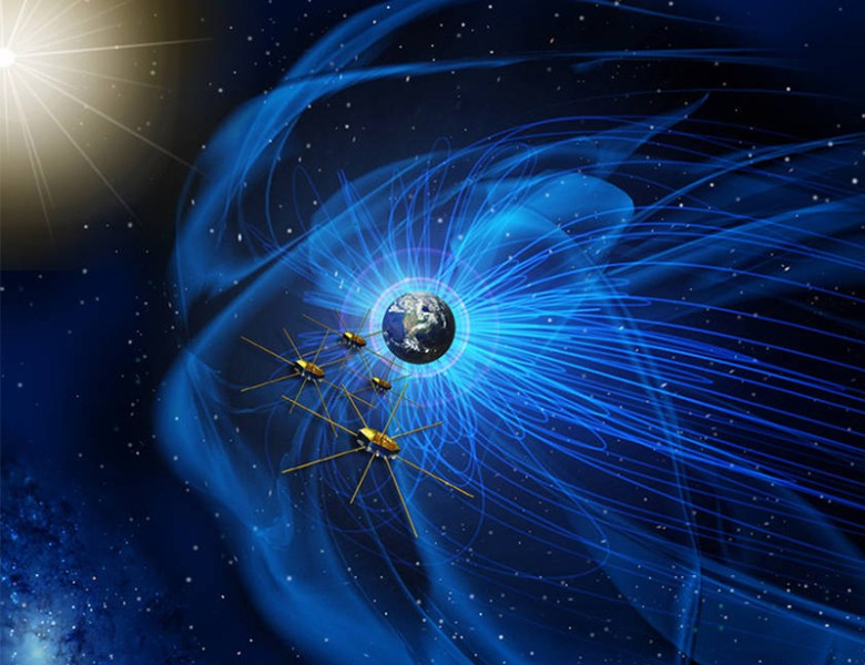 Artist rendition of the MMS mission orbiting in formation the Earth's magnetosphere