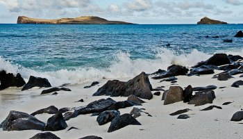 A coast of the Galapagos Islands in the eastern tropical Pacific
