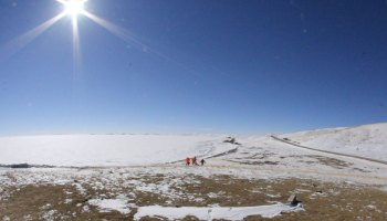 A view of ice covering Ngoring Lake, which is the largest freshwater lake (610 square kilometers) on the Tibetan Plateau.
