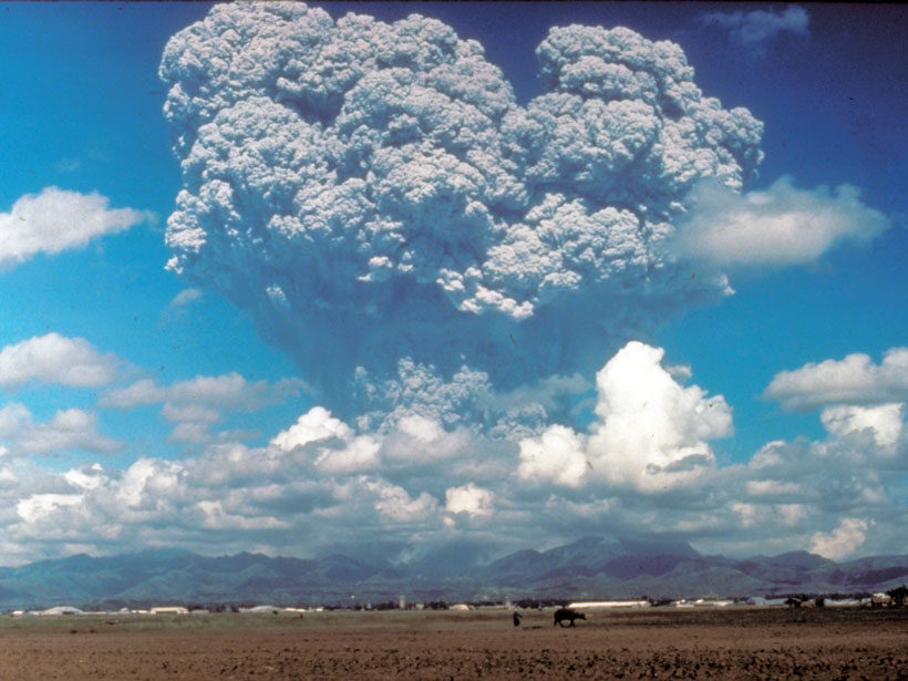 The eruption column of Mount Pinatubo, Philippines, in June 1991.