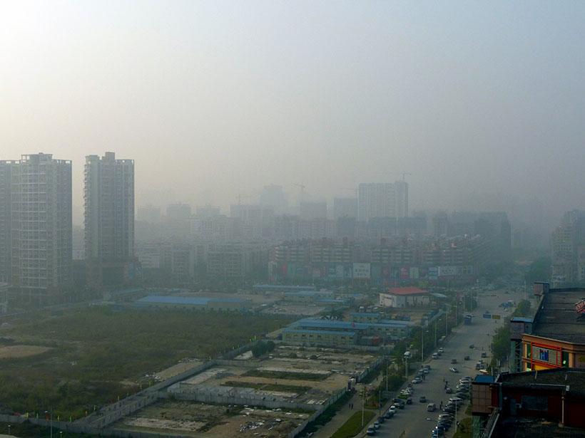 中国深圳上空出现的严重雾霾