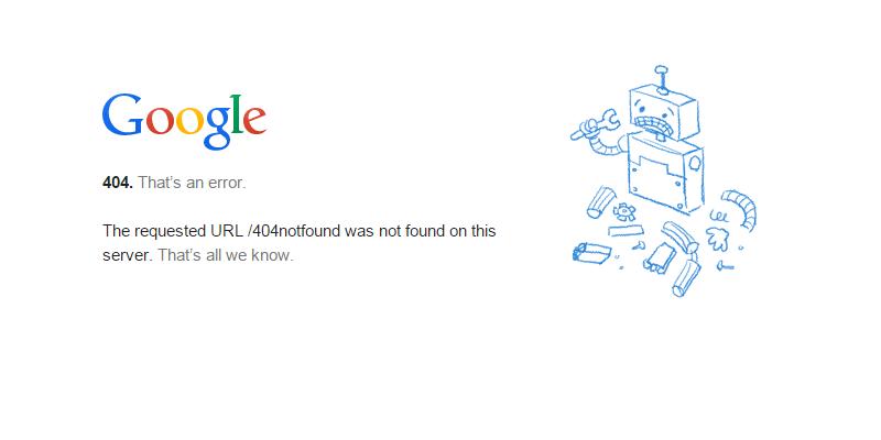 Page with 404 error message - broken link