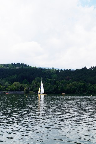 A boat in the waters of pancharevo lake