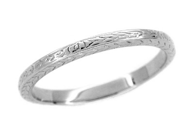 Art Deco Thin Wheat Engraved Wedding Band For Men In 14