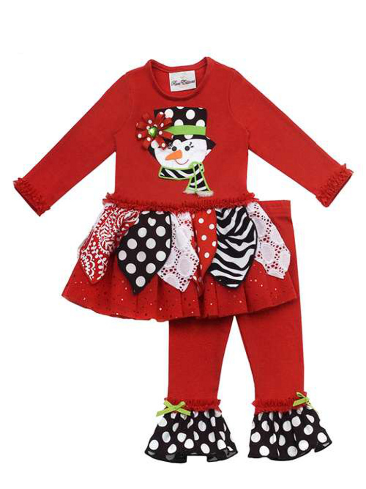 Rare Editions Girls Christmas Outfits Red Printed