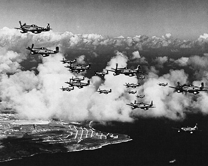 P 51 Mustangs Flying Over Saipan WWII Photo Print For Sale