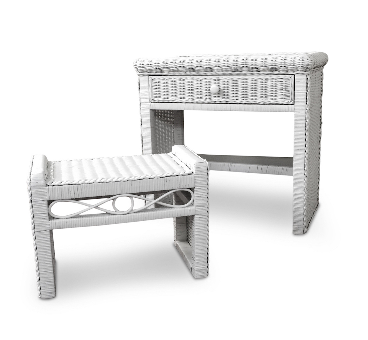 1 Drawer Wicker Desk And Bench Wicker Paradise