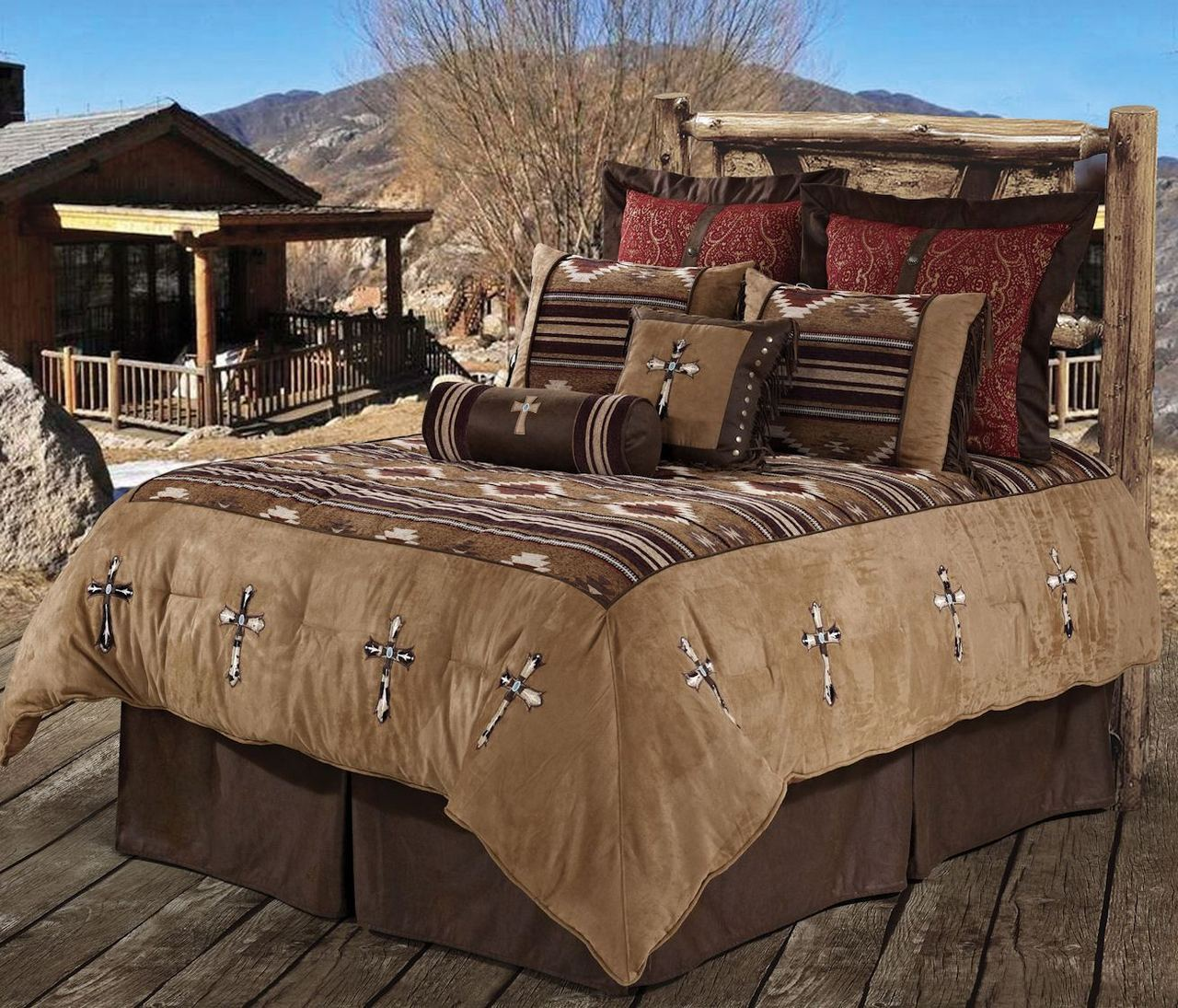 Southwestern Navaho Cowhide Cross Rustic Bedding Set