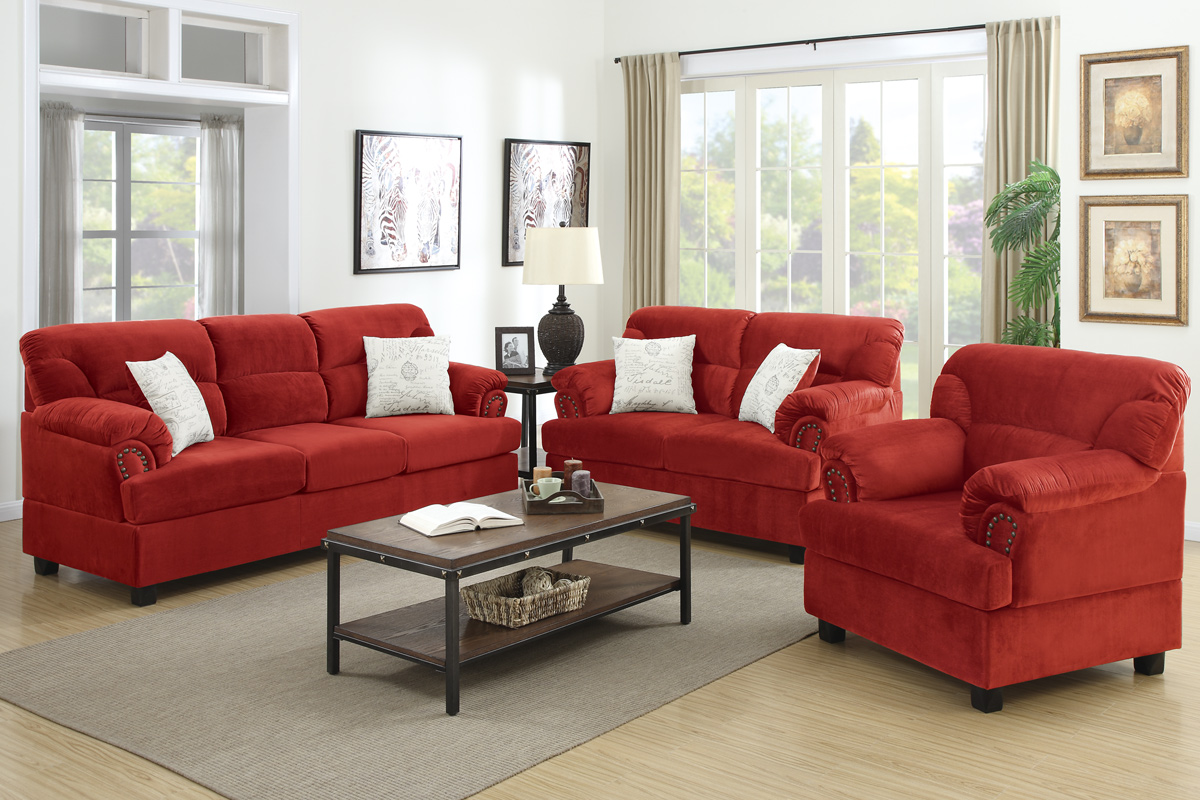 This sofa set offers gorgeous faux leather upholstery,. Poundex F7918 Red Wood Sofa Loveseat and Chair Set - Steal ...