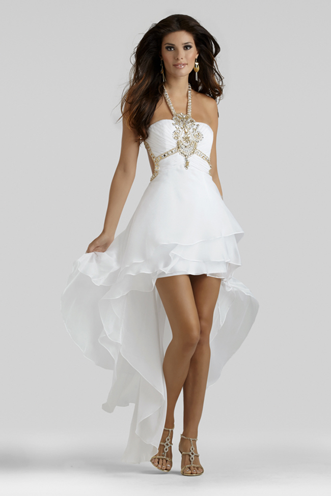 white bateau high-low prom dress
