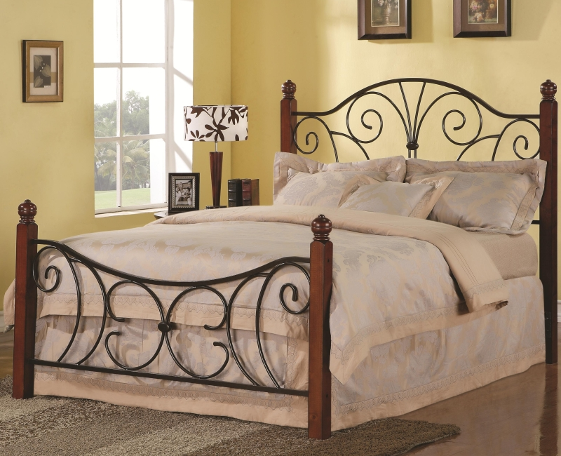 Swirl Design Queen Wood With Metal Headboard & Footboard