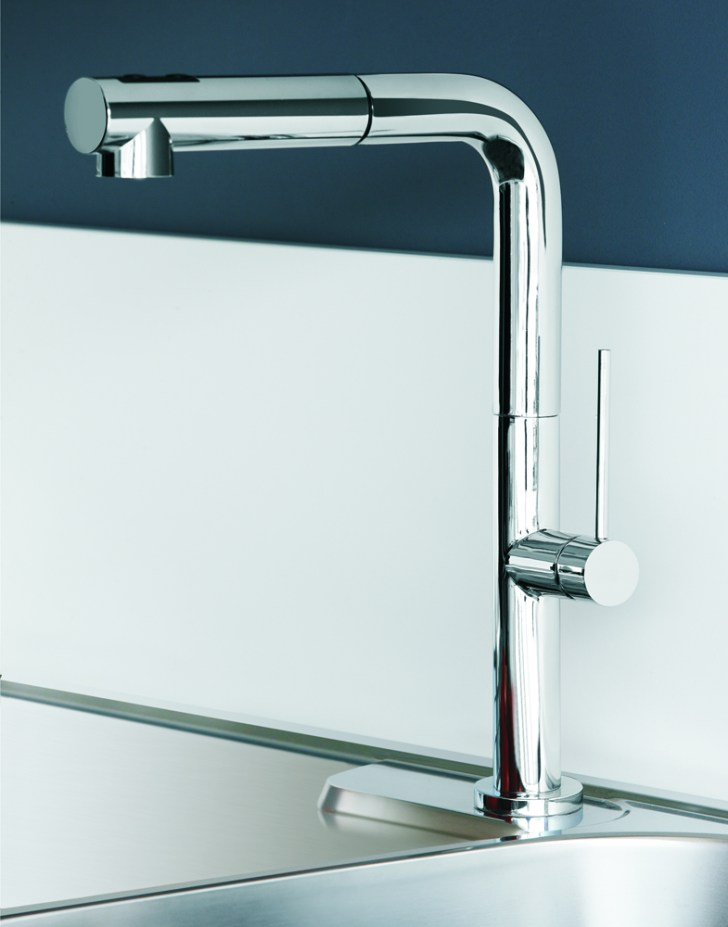 Slim Dual Chrome Modern Kitchen Faucet Pull Out Shower