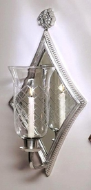 Antique Silver Diamond Mirrored Hurricane Wall Sconce ... on Silver Wall Sconces For Candles id=34523