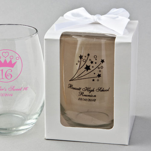 Personalized Class Reunion Favors 15 Ounce Glasses