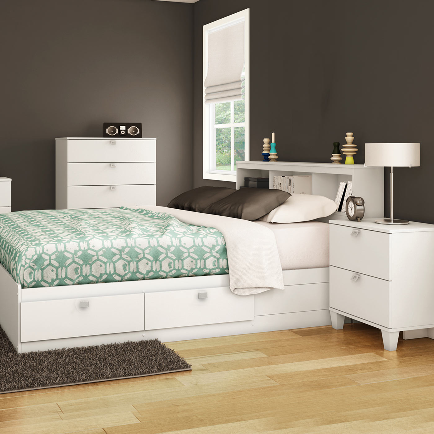 Southshore Karma 4 Piece Bedroom Set Karma Twin Mates Bed Bookcase Headboard 5 Drawer Chest And Nightstand In Pure White