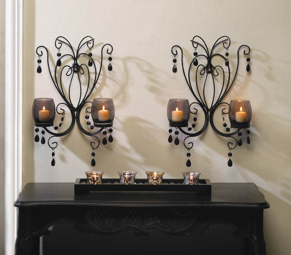 Midnight Elegance Candle Wall Sconces Wholesale at Koehler ... on Wall Sconces Candle Holders id=21274