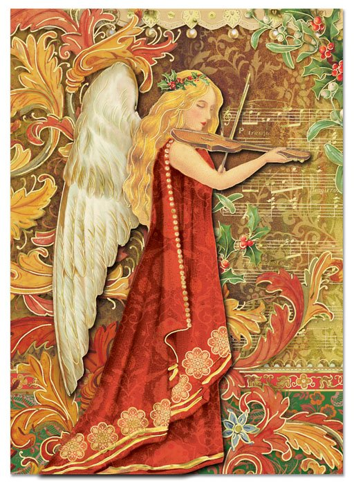 Violin Angel Holiday Cards Punch Studio Christmas