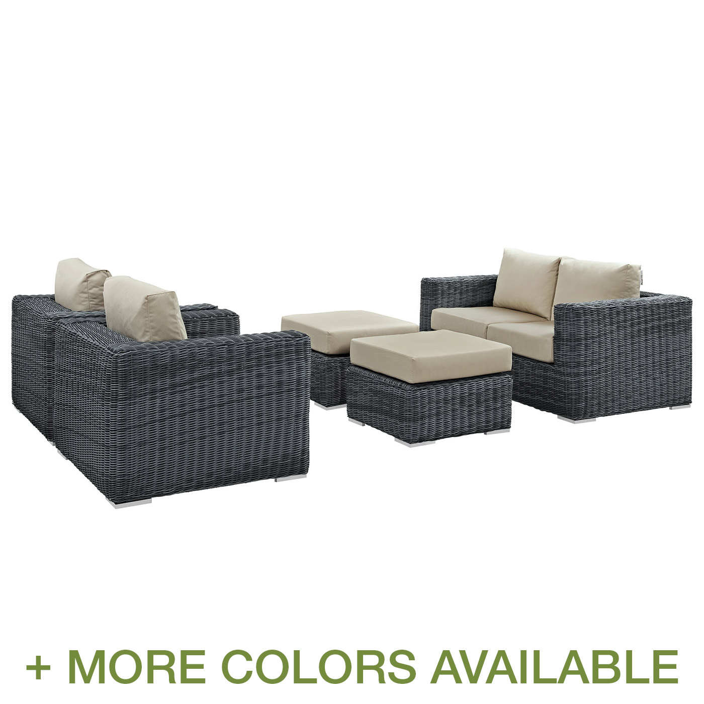 modway summon 5 piece outdoor patio conversation set with cushions free shipping