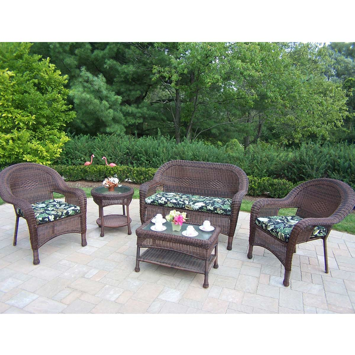 Oakland Living Resin Wicker 5 Piece Outdoor Seating Set ... on Outdoor Living Wicker  id=16785