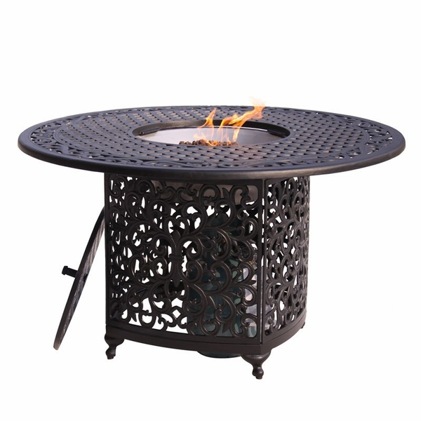 Meadow Decor Kingston 48 Inch Round Aluminum Patio Dining ... on Outdoor Dining Tables With Fire Pit id=22777