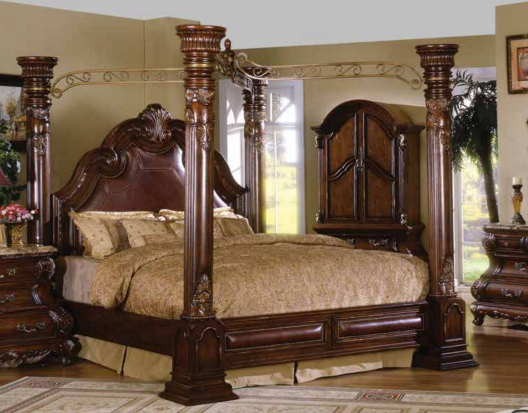 caledonian traditional brown cherry poster on Mcferran Canopy Bed id=18989