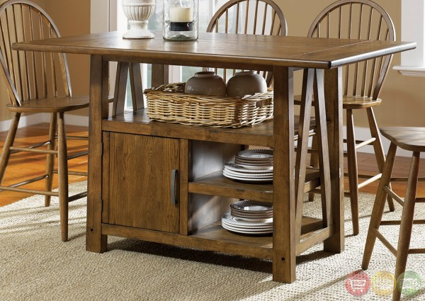 counter height storage dining table Farmhouse Counter Height Storage Table Casual Dining Set