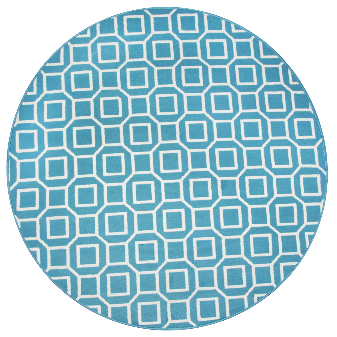 Glendale Geometric Squares Pattern Round Rug In Blue