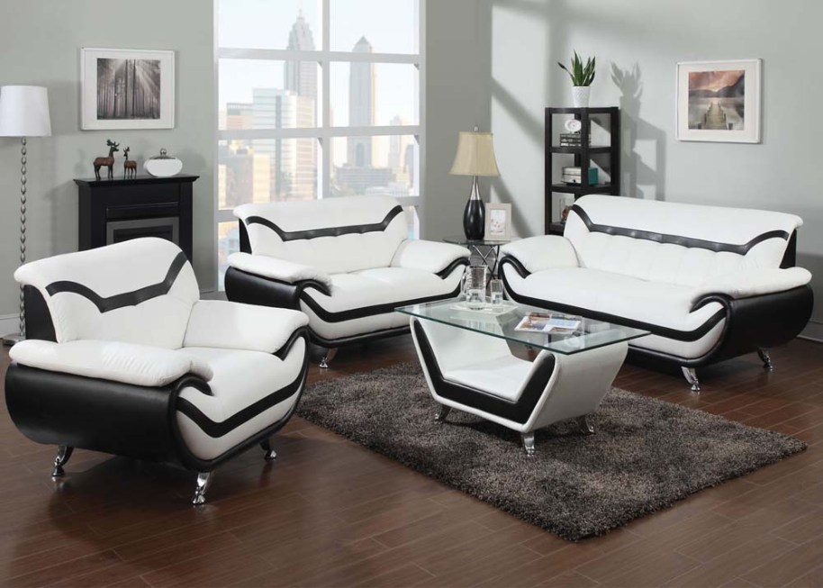 Kelly Ultra Modern Living Room Sets with Sinious Spring ...