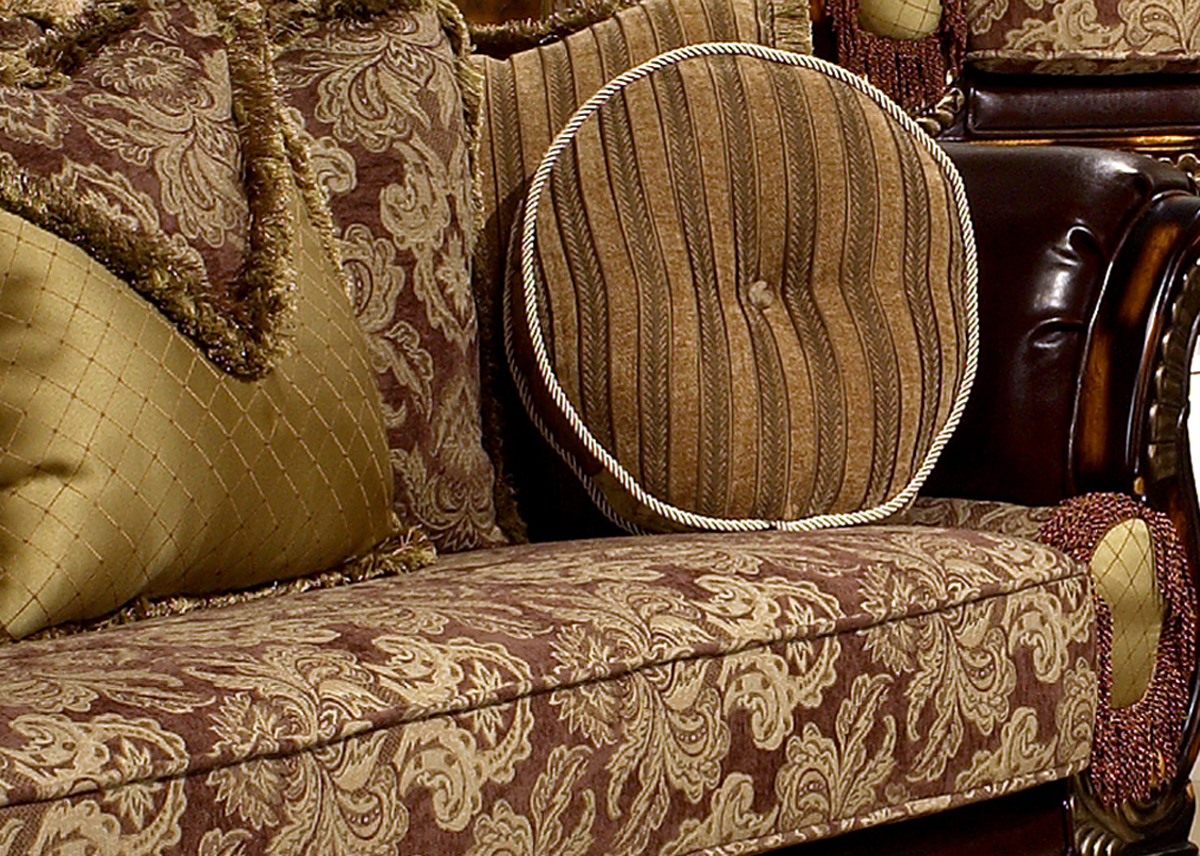 Leather & Fabric Traditional Formal Living Room Set HD-26