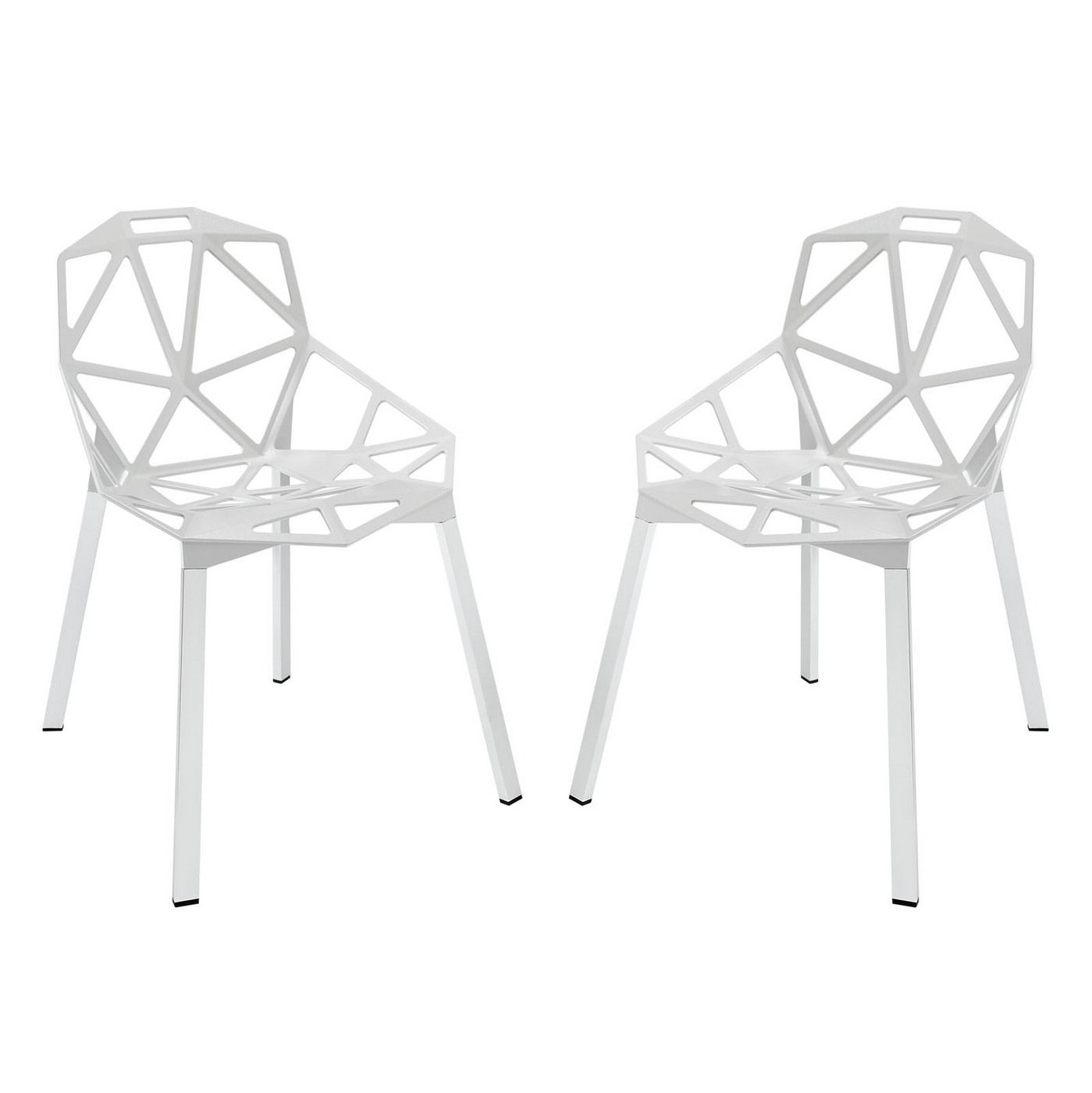 Set Of 2 Connections Modern Geometrical Dining Chair With