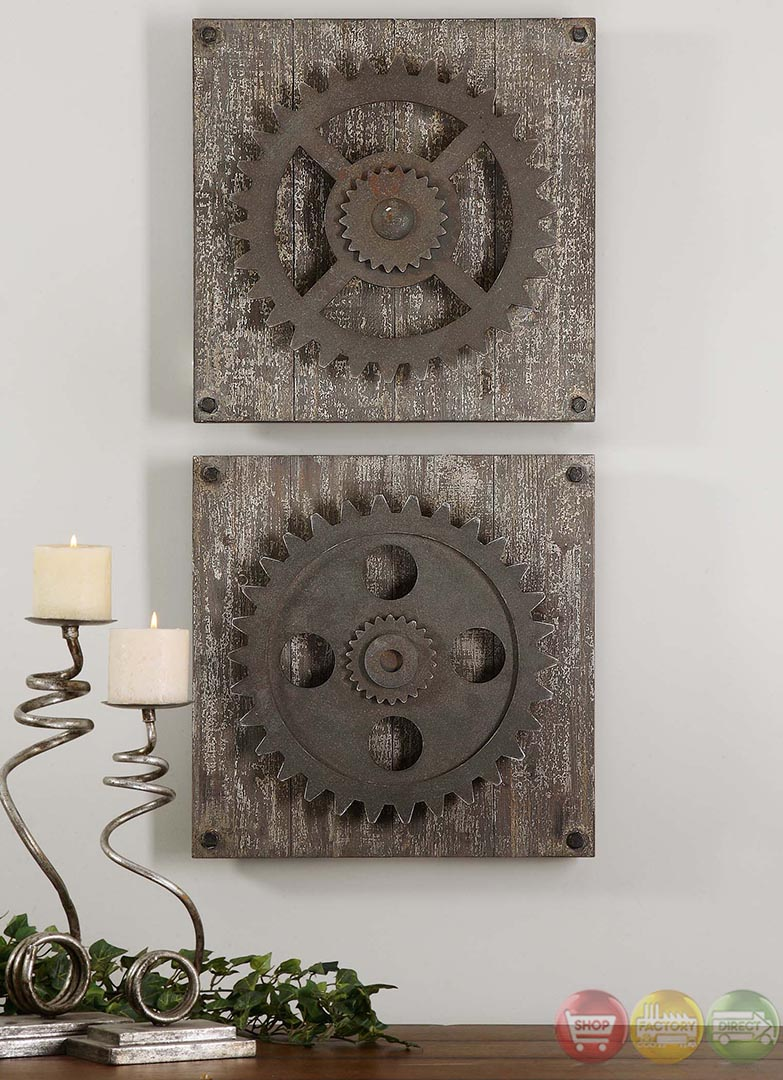 Set of 2 Rustic Gears Traditional Rustic Wall Art 13828 on Rustic Traditional Decor  id=69489