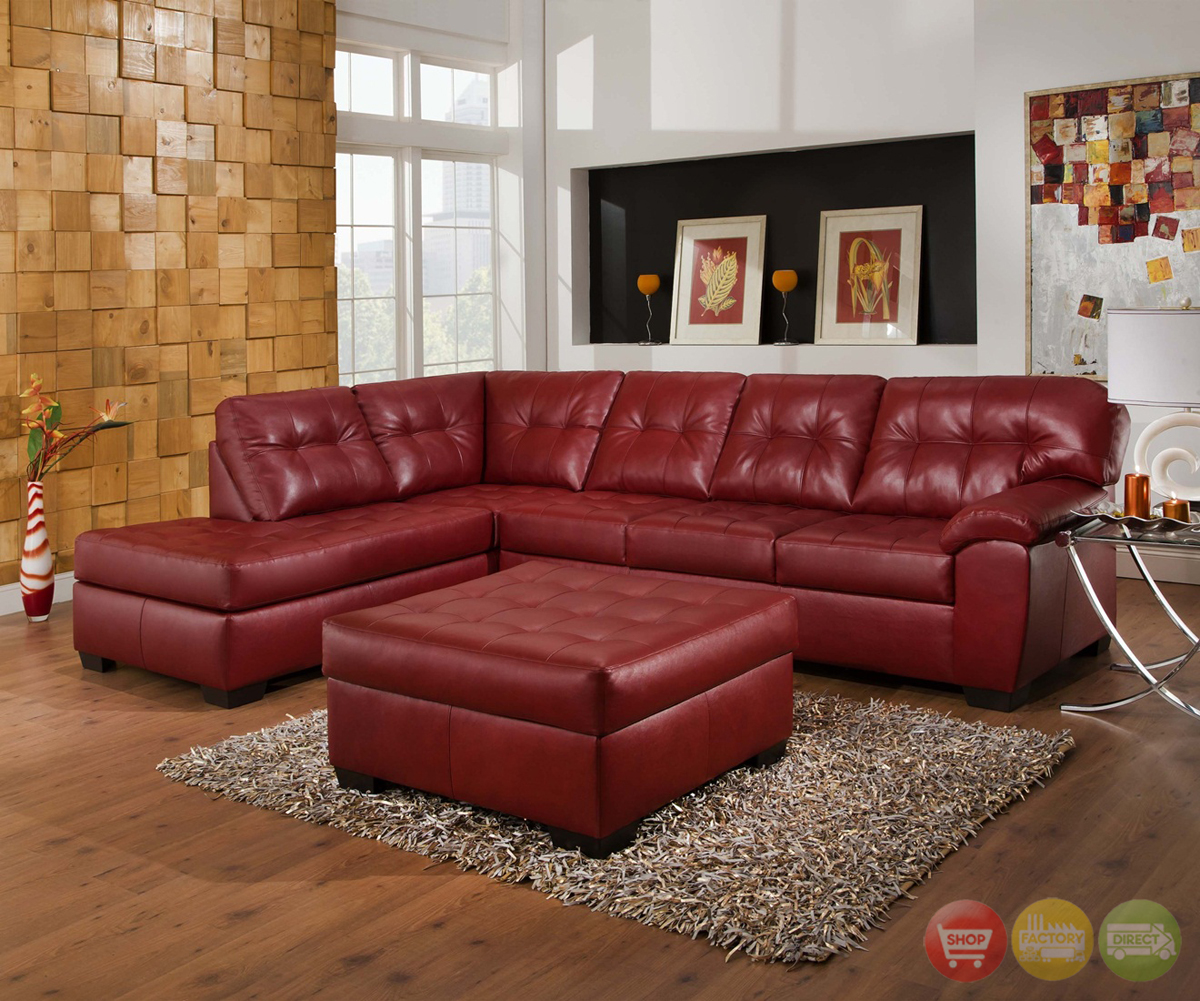 L shape sectional sofa set with storage ottoman, red, left hand facing chaise by beverly furniture (1) $1,049. Soho Contemporary Red Bonded Leather Sectional Sofa w/Left ...