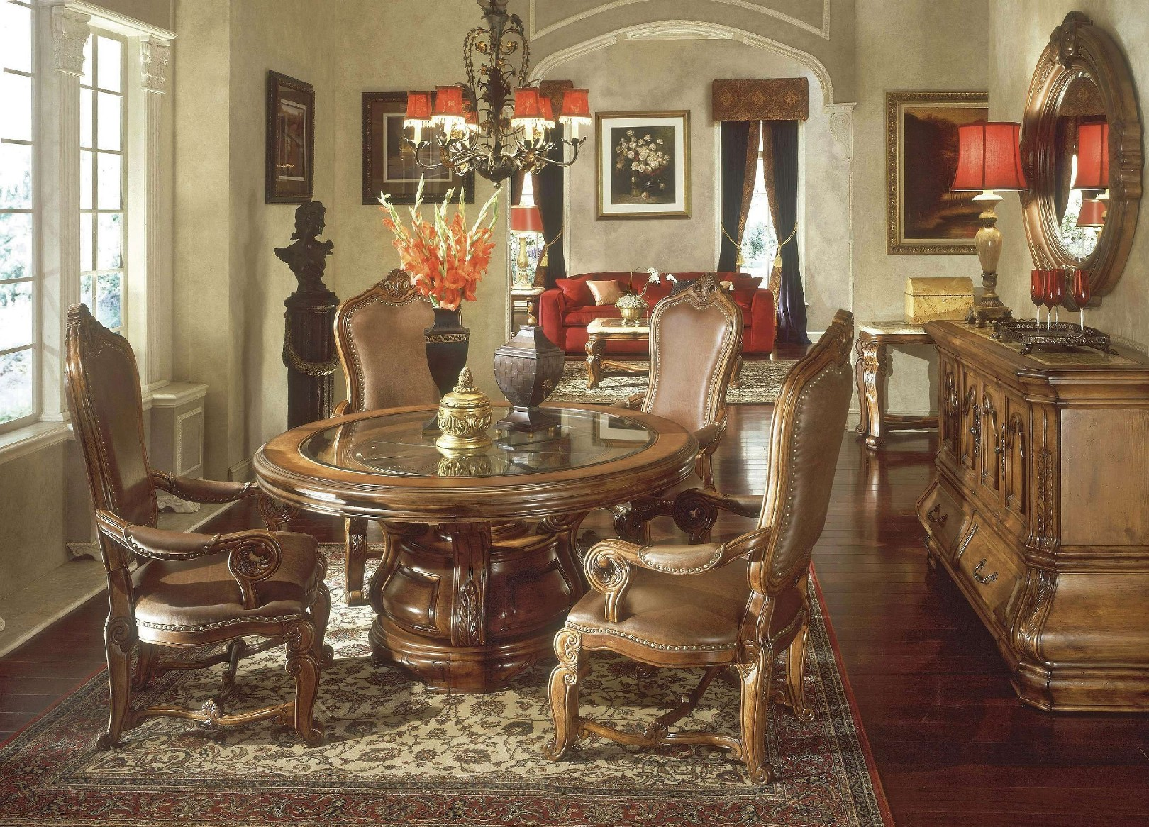 Michael Amini Tuscano Biscotti Finish Traditional Round Dining Table Set By AICO
