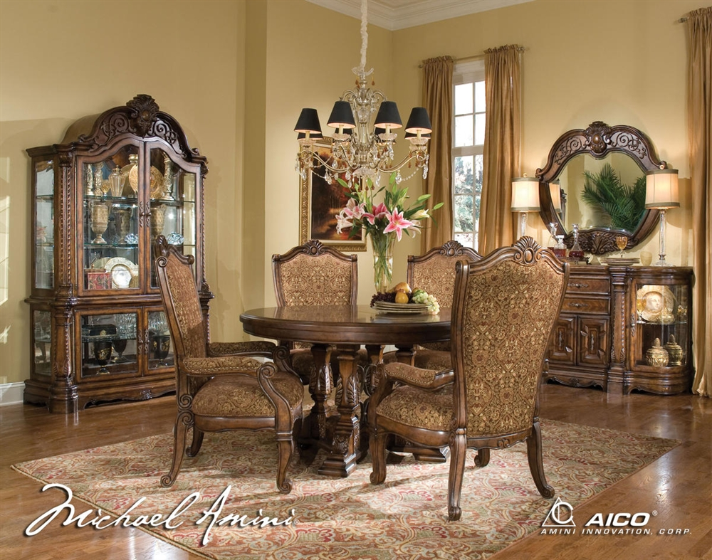 Michael Amini Windsor Court Fruitwood Traditional Round