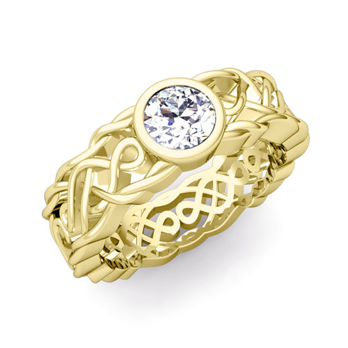 His Her Matching Wedding Band In 14k Gold Solitaire