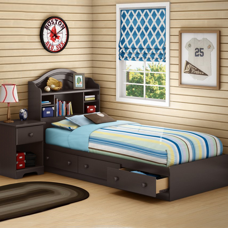 Morning Dew Twin Bookcase Headboard  Mates Bed and Nightstand     Morning Dew Twin Bookcase Headboard  Mates Bed and Nightstand Chocolate  9016098 9016080 9016062 by SouthShore at SimplyKidsFurniture