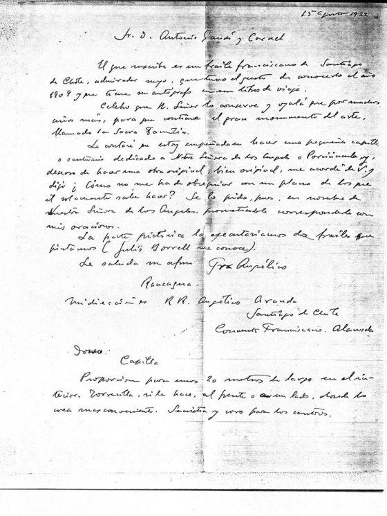 Carta de Aranda a Gaudí de agosto de 1922