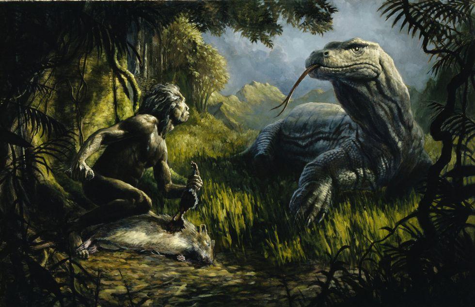 Uns recreación del 'Homo floresiensis' enfrentándose a un lagarto gigante