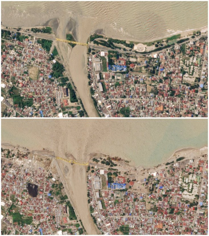 La misma localidad de Palu en dos momentos: el 22 de septiembre (arriba) y el 1 de octubre. Los servicios de rescate trabajan contrarreloj aunque cada vez es más difícil encontrar a afectados con vida.