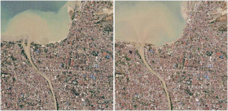 Vista área de la localidad de Palu antes (izquierda) y después del terremoto y del tsunami. La Agencia Nacional de Gestión de Desastres de Indonesia ha actualizado este martes el balance de muertos: ya son al menos 1.234, pero se teme que la cifra crezca.