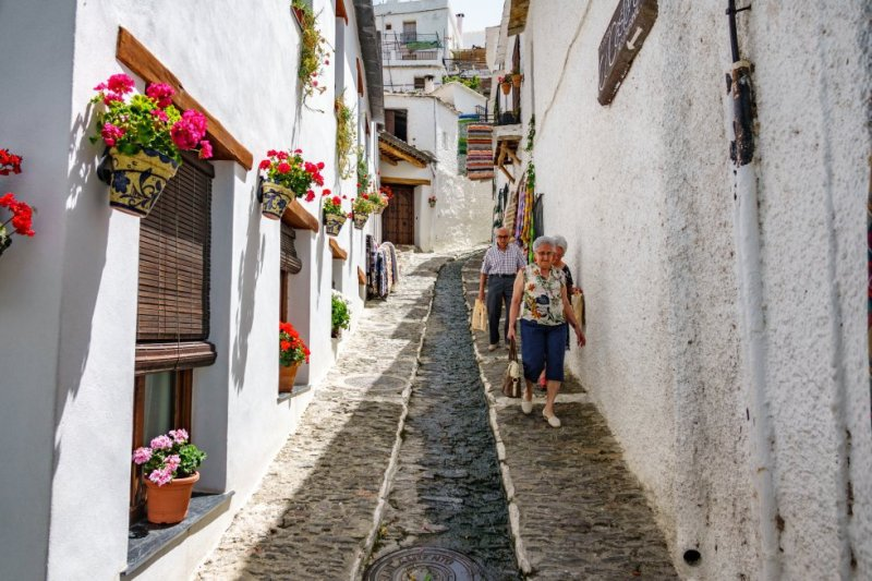 This white village in Granada's Alpujarras region invites visitors to wander through its narrow streets and alleyways, which still feature Berber elements in their architecture. More information: turismopampaneira.com
