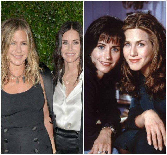Igual que Rachel y Mónica eran íntimas en la serie, en la vida real Jennifer Aniston y Courteney Cox siguen siendo muy amigas. Tanto, que Aniston es la madrina de la única hija de Cox, Coco, fruto de su matrimonio de 11 años con el también actor David Arquette, de quien se separó en 2010 porque él le había sido infiel.